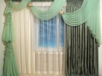 оригинальный дизайн штор с ламбрекеном для гостиной