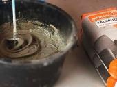 замешивание раствора для штукатурки