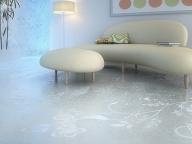 заливной пол в модном интерьере гостиной